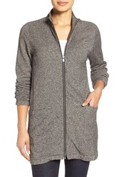 Petite Women's Eileen Fisher Organic Cotton And Hemp Stand Collar Long Jacket Charcoal