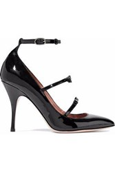 Red Valentino Bow Embellished Patent Leather Mary Jane Pumps Black