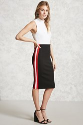 Forever 21 Contemporary Striped Skirt Black Red