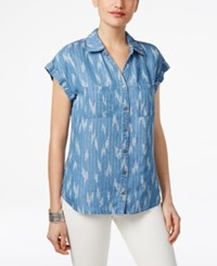 Style And Co Petite Ikat Print Denim Shirt Only At Macy's Ikat Craze