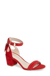 Kenneth Cole Women's Harriet Ankle Strap Sandal Red Suede
