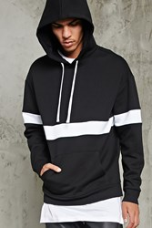 Forever 21 Stripe Fleece Hoodie Black White