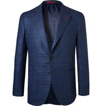 Isaia Blue Checked Wool And Silk Blend Hopsack Blazer