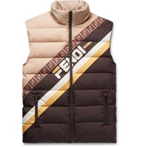 Fendi Logo Print Quilted Shell Down Gilet Brown