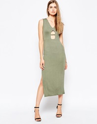 Daisy Street Midi Dress With Key Hole Detail Khaki