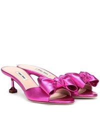 Miu Miu Metallic Leather Sandals Pink