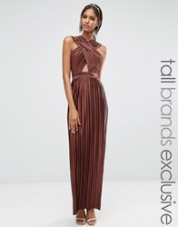 True Decadence Tall Allover Pleated Cross Front Open Back Maxi Dress Copper Brown
