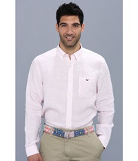 Vineyard Vines Lake Worth Stripe Linen Shirt Hibiscus Men's Long Sleeve Button Up Pink