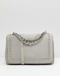 Liquorish Chunky Chain Detail Across Body Bag Grey