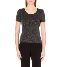 Armani Collezioni Sparkle Embellished Jersey Top Silver