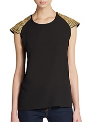 Romeo And Juliet Couture Rhinestone Embellished Top Black
