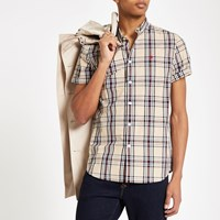 River Island Beige Check Wasp Embroidered Shirt