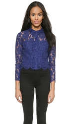 Whistles Chay Lace Crop Top Russian Blue