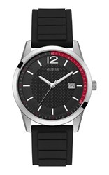 Guess W0991g1 Mens Silicone Strap Sports Watch Black