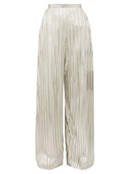 Rodarte Wide Leg Pleated Metallic Trousers Silver