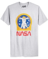 Mighty Fine Men's Nasa Graphic Print T Shirt Heather Grey