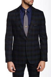 Paisley And Grey Blue Plaid One Button Notch Lapel Slim Blazer
