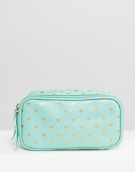 Bombay Duck Cosmetics Compartment Case Mint Gold Green
