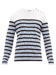 Balmain Logo Stripe Cotton Jersey Long Sleeve T Shirt Black Blue