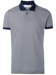 Orlebar Brown Striped Polo Top Blue