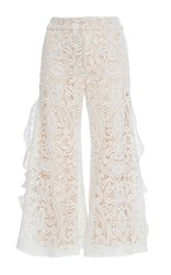 Alexis Harrison Cropped Lace Pant White