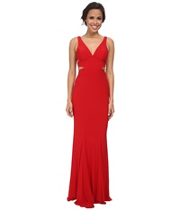 Faviana Jersey V Neck Side Out 7541 Red Women's Dress