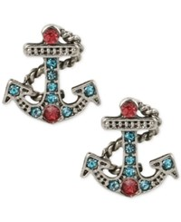 Betsey Johnson Silver Tone Blue And Pink Crystal Anchor Stud Earrings