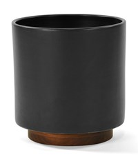 Modernica Case Study Ceramic Cylinder Planter With Plinth Charcoal Small Black