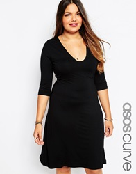Asos Curve Midi Skater Dress With Sexy Square Neck Black