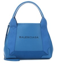 Balenciaga Navy Cabas Xs Leather Shoulder Bag Blue