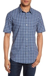 Zachary Prell Check Short Sleeve Sport Shirt Blue
