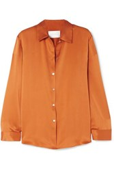 Asceno Washed Silk Pajama Shirt Orange
