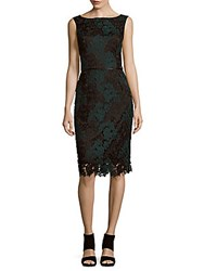 David Meister Veni Floral Lace Dress Black