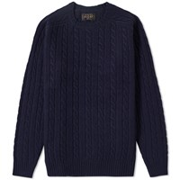 Beams Plus Cable Knit Crew Neck Blue