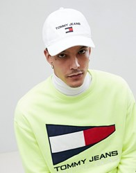 6414c9aa45f17 Tommy Jeans 90S Sailing Capsule Flag Logo Soft Baseball Cap In White Bright  White