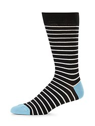Saks Fifth Avenue Made In Italy Classic Striped Cotton Crew Socks Black