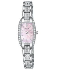Pulsar Watch Women's Crystal Accented Stainless Steel Bracelet Peg987 Women's Shoes