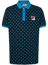 Fila Logo Print Polo Shirt Black