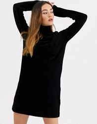 Weekday Ribbed Soft Velvet Midi Dress In Black