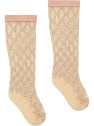 Gucci Gg Crystal Embellished Socks Neutrals