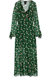 Anna Sui Ruffle Trimmed Floral Print Silk Georgette Wrap Dress Green