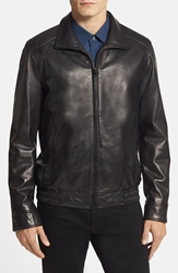 Vince Camuto 'Wellington' Leather Jacket With Convertible Collar Black