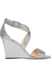 Jimmy Choo Fearne Glittered Leather Wedge Sandals Silver