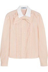 Prada Bow Embellished Ruffled Striped Cotton Shirt Peach