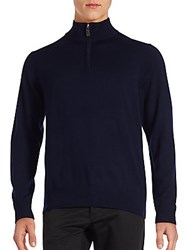 Tailorbyrd Wool Long Sleeve Sweater Navy