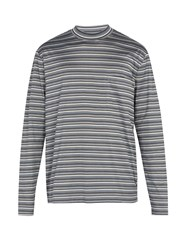 Lanvin Striped Long Sleeved Cotton T Shirt Multi