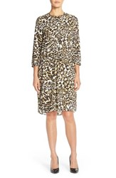 Women's Nydj 'Lauren' Pleat Back Georgette Shirtdress Cheetah Vanilla