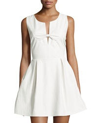 Madison Marcus Faux Leather Bow Front Dress White