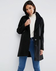 Asos Jacket With Batwing Sleeve And Swing Shape Black