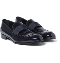 Brioni David Patent Leather Loafers Midnight Blue
